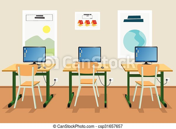 Illustration of an empty classroom - csp31657657