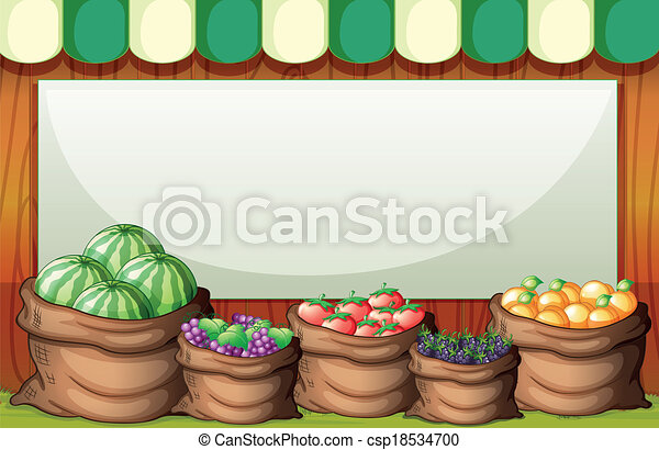 Illustration of an empty template at the market at the back of the sack of fruits - csp18534700