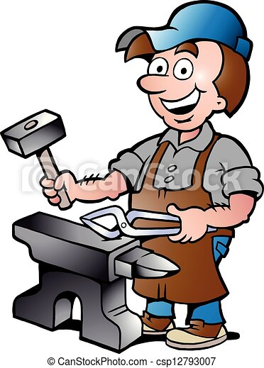 illustration of an Happy Blacksmith - csp12793007
