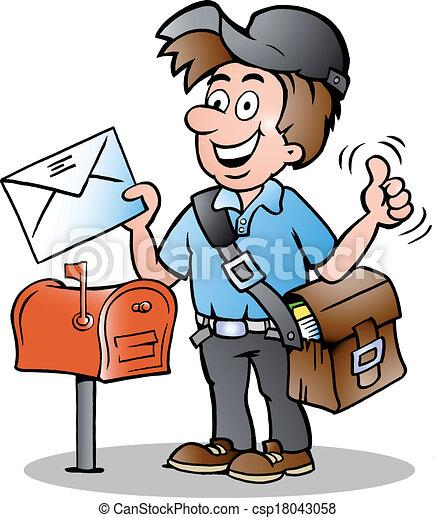 hand drawn vector illustration of an happy postman rh canstockphoto com dog chasing mailman clipart dog chasing mailman clipart