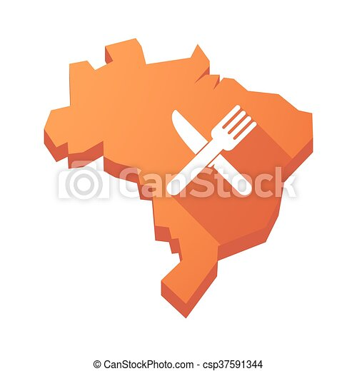 Illustration of an isolated Brazil map with a knife and a fork - csp37591344