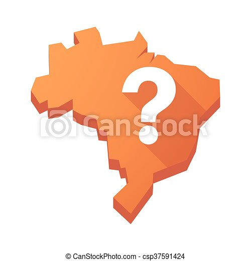 Illustration of an isolated Brazil map with a question sign - csp37591424
