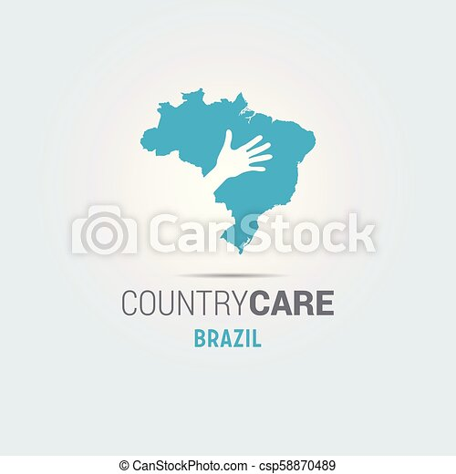 Illustration of an isolated hands offering sign with the map of Brazil - csp58870489