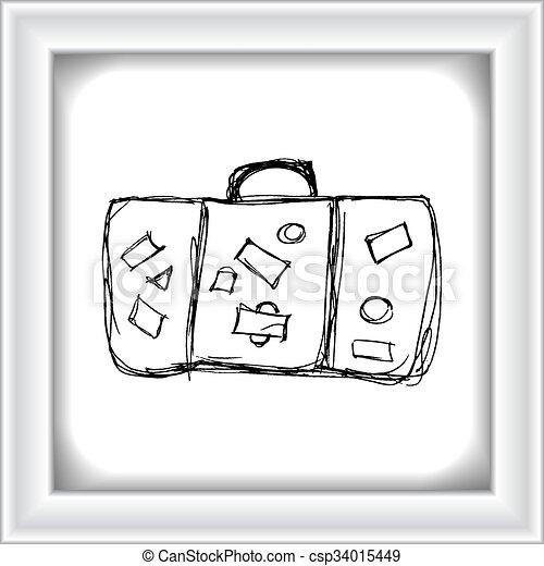 Vintage Suitcase Line Drawing