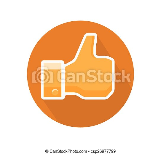 "Illustration of an orange ""Like"" hand gesture - Symbol Isolated on White - csp26977799"