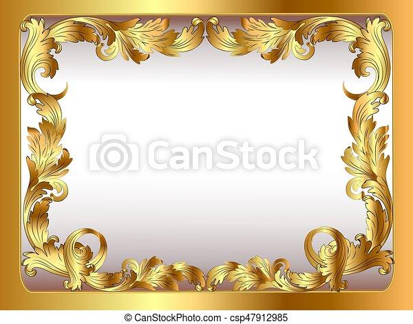 illustration of ancient background framed gold vegetative ornament - csp47912985