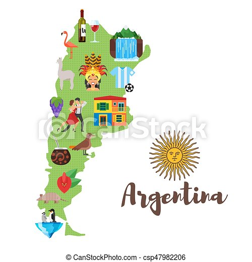 Vector Flat Style Illustration Of Argentina Map With Argentinian