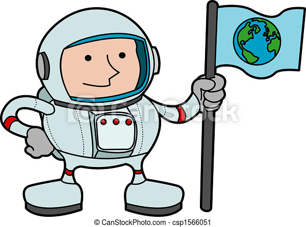 illustration of astronaut in space gear holding flag with vector rh canstockphoto com astronaut clip art for kids astronaut clipart images