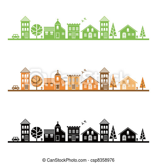 Illustration of average town - csp8358976