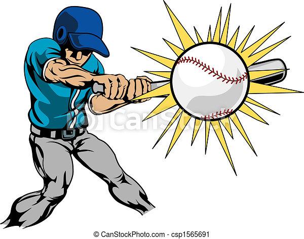 Illustration of baseball player hitting baseball - csp1565691