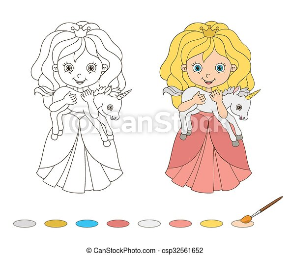 Illustration of beautiful princess with baby unicorn. Coloring Book Page - csp32561652