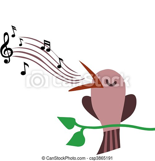 illustration of bird perched on branch singing a tune  - csp3865191