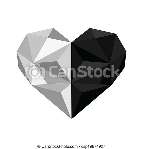 Illustration Of Black And White Origami Heart