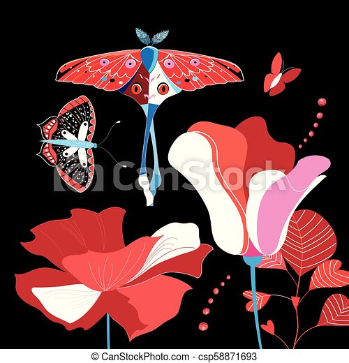 Illustration of brightly colored flowers and butterflies - csp58871693