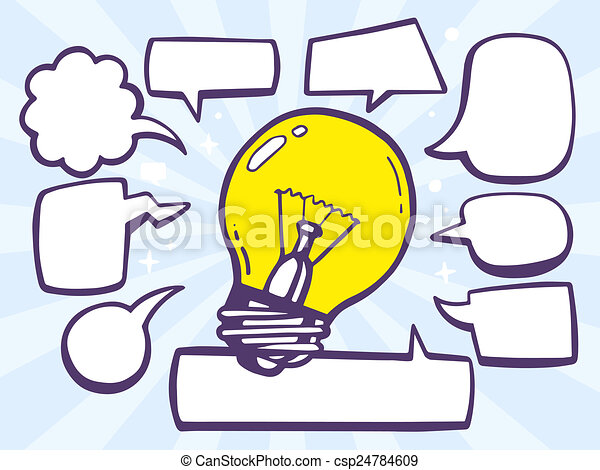 illustration of bulb light with speech comics bubbles on - csp24784609