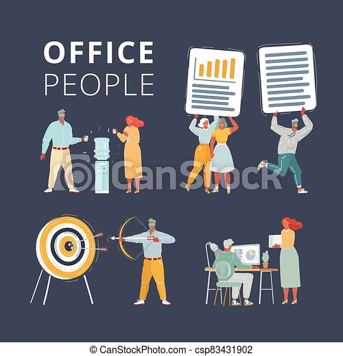 Illustration of Business characters scene. Teamwork in modern business office. Office people working at workspace. Work with files, cooler, aim and arrow on dark background. - csp83431902