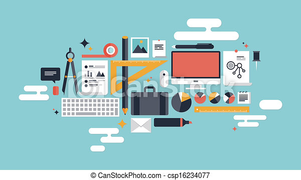 Illustration of business working elements - csp16234077