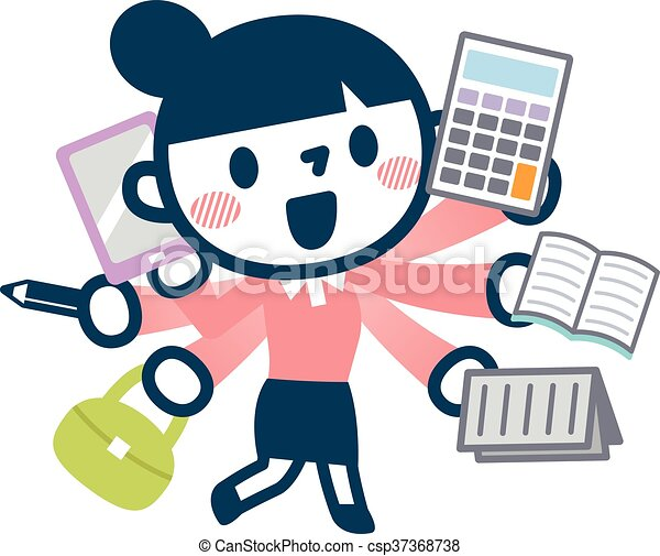 Illustration Of Busy Career Woman Vector Illustration Original Paintings And Drawing