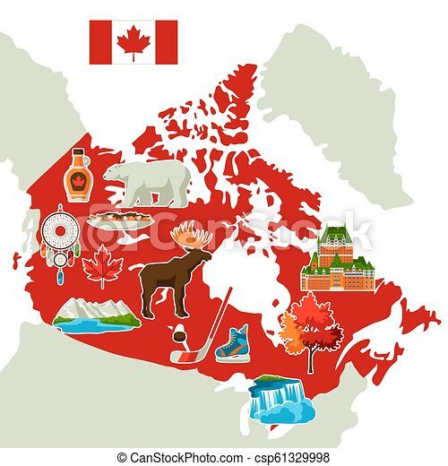 Pics Of Canada Map.Illustration Of Canada Map Canadian Traditional Symbols And