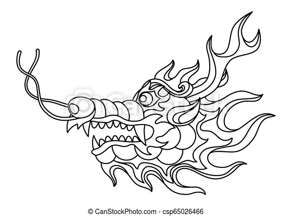 Illustration Of Chinese Dragon Head Coloring Page For Printing And Drawing Traditional China Symbol Asian Mythological
