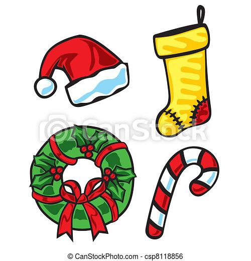 Christmas Items.Illustration Of Christmas Items