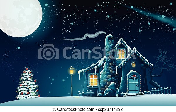 Illustration Of Christmas Night With A Fabulous House And A Eps