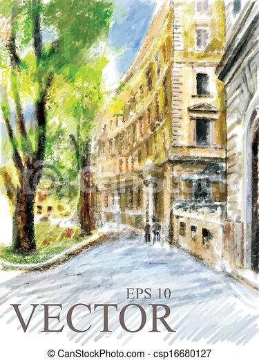 Illustration of city street.  - csp16680127