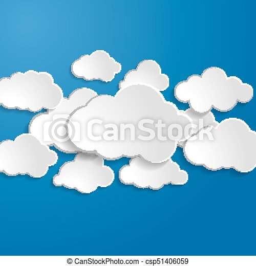 illustration of clouds on a blue background - csp51406059