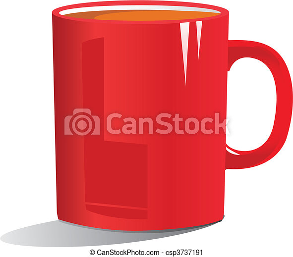illustration of coffee in a red mug - csp3737191
