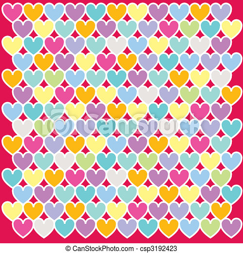 Illustration of colours heart pattern background - csp3192423