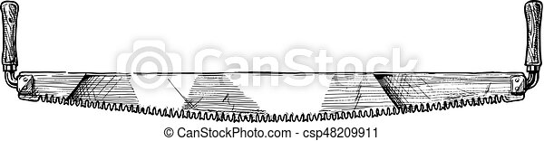 Vector hand drawn illustration of crosscut saw in vintage ...