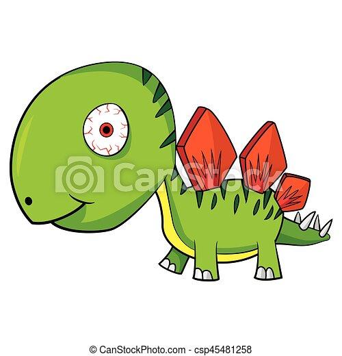 Illustration of Cute Cartoon Baby Stegosaurus Dinosaur. Vector EPS8. - csp45481258