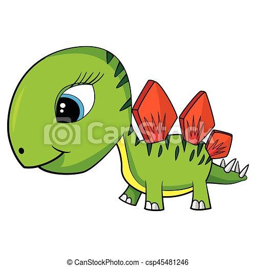 Illustration of Cute Cartoon Baby Stegosaurus Dinosaur. Vector EPS8. - csp45481246