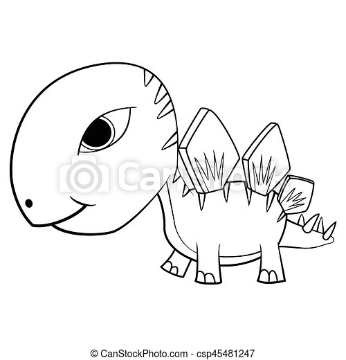 Illustration of Cute Cartoon Baby Stegosaurus Dinosaur. Vector EPS8. - csp45481247
