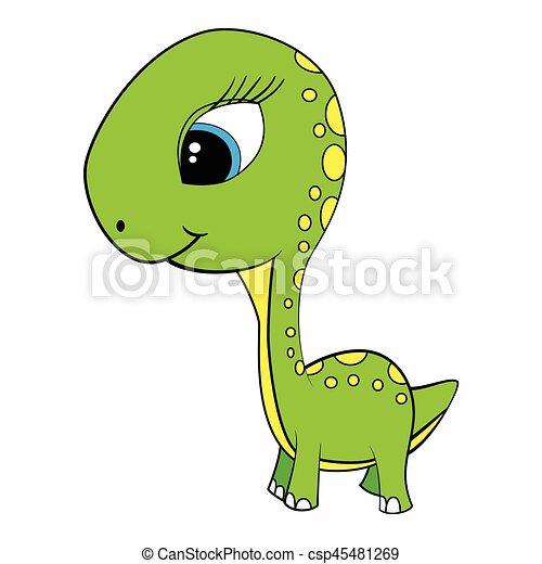 Image of: Vector Illustration Illustration Of Cute Cartoon Of Green Baby Brontosaurus Dinosaur Csp45481269 Can Stock Photo Illustration Of Cute Cartoon Of Green Baby Brontosaurus Dinosaur
