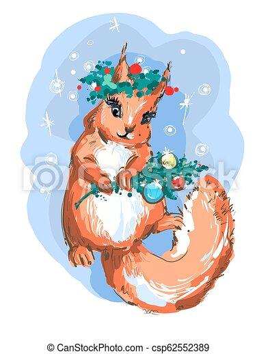 Christmas Squirrel.Illustration Of Cute Christmas Squirrel Vector Art