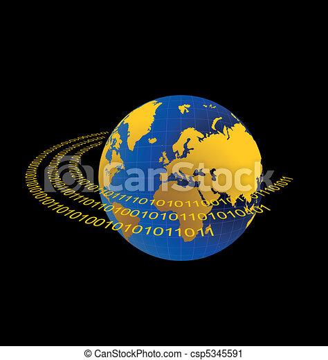 Illustration of data stream around terra planet - csp5345591
