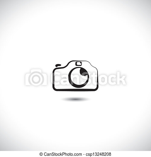 Illustration of digital modern camera with flash icon symbol. The graphic shows the photographic equipment in black and white styled like a doodle or hand drawing - csp13248208