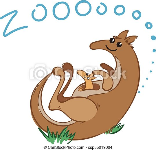 illustration of doodle cute kangaroo hand drawn graphic vector