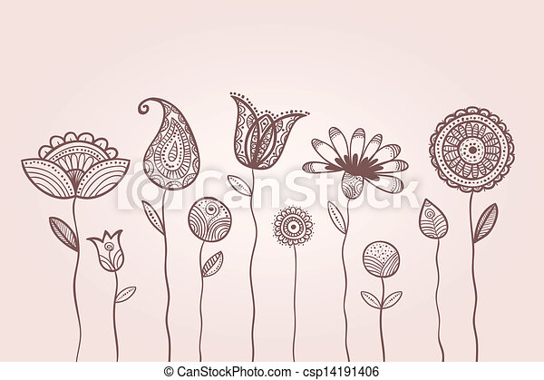 Illustration of doodle flowers, with patterns on leaves and petals - csp14191406