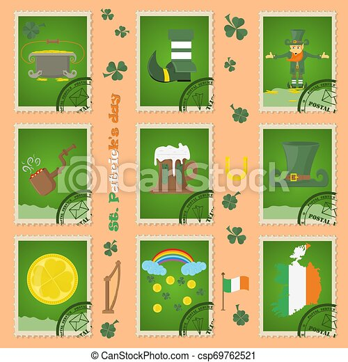 illustration of elements of Irish design for St. Patricks day celebration, in the form of postage stamps, painted in flat style - csp69762521