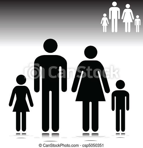 illustration of family vector silho - csp5050351
