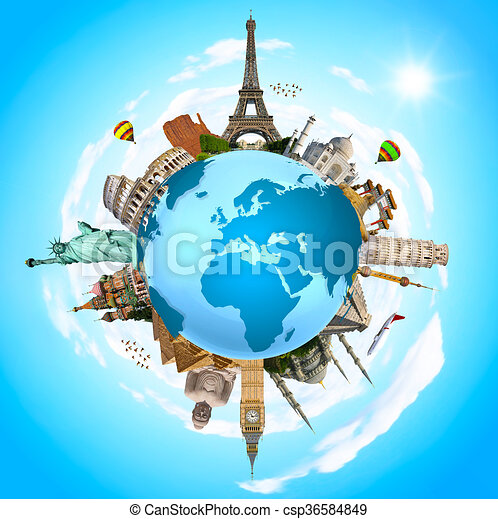 Illustration of famous monument of the world - csp36584849