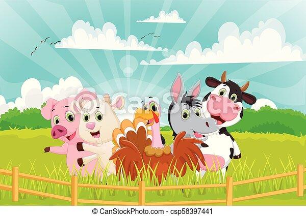 Illustration of Farm Animals cartoon - csp58397441