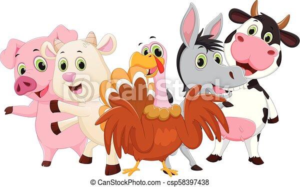 Illustration of Farm Animals cartoon - csp58397438