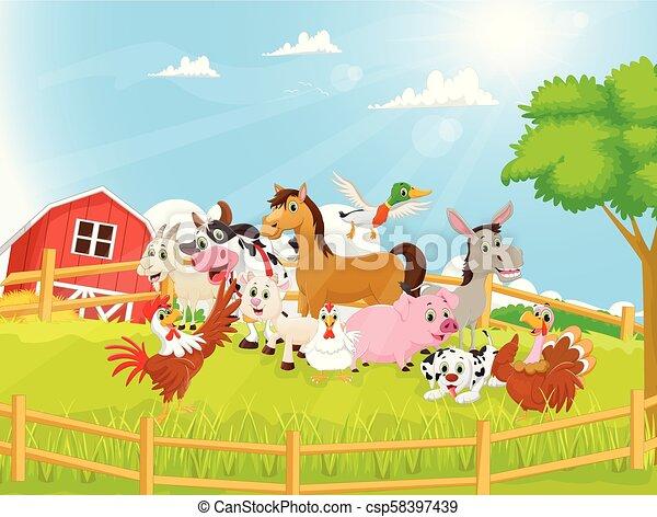 Illustration of Farm Animals cartoon - csp58397439