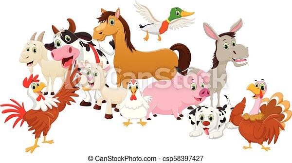 Illustration of Farm Animals cartoon - csp58397427