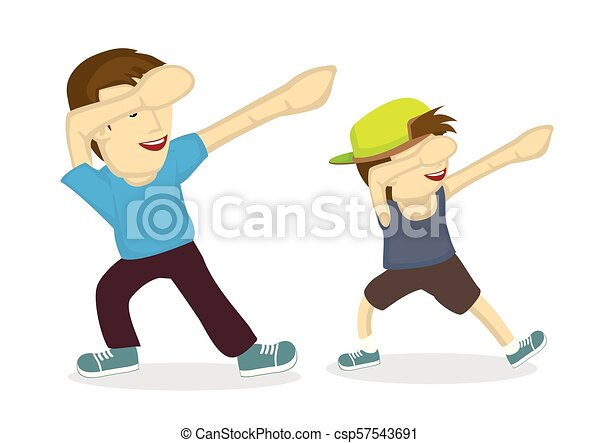 Illustration of father and his son doing a dab