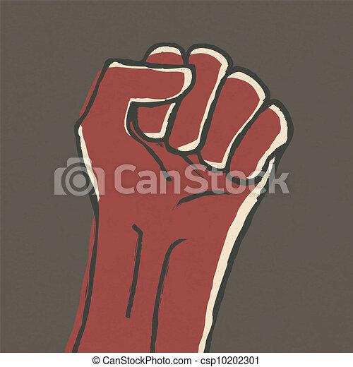 Illustration of fist - revolution symbol. Vector, EPS10. - csp10202301