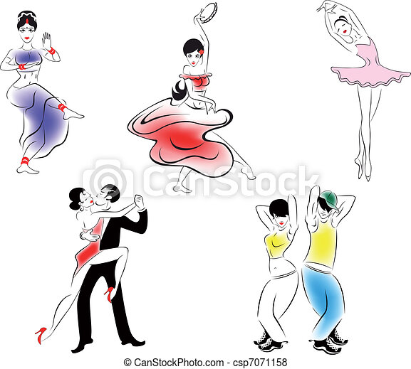 Illustration of five dance styles - csp7071158